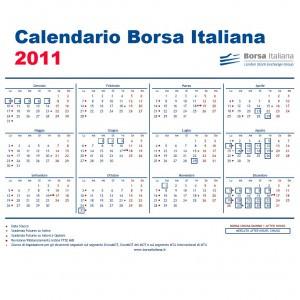Calendario della Borsa Italiana 2011